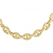 Collier maille grain de caf� en or jaune