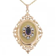 Pendentif porte-photo vintage diamants et améthyste en or jaune et or blanc