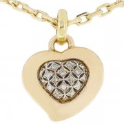 Pendentif coeur grillagé diamants 0,12 carat en or bicolore