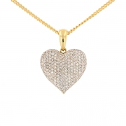 Pendentif coeur pavage de diamants 0.50 carat en or bicolore