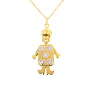 Pendentif bonhomme diamants 0.10 carat en or bicolore