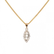 Pendentif marquise diamants 0.60 carat en or bicolore