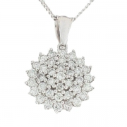 Pendentif rond pavage de diamants 0,55 carat en or blanc