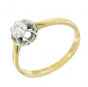 Solitaire ancien diamant 0,40 carat en or jaune et or blanc