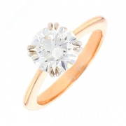 Bague solitaire diamant 2.31 carats en or bicolore