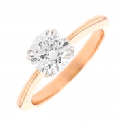 Bague solitaire diamant 1.36 carat en or bicolore