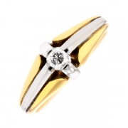 Solitaire diamant 0.16 carat en or bicolore