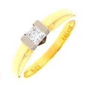 Bague solitaire diamant princesse 0.33 carat en or bicolore