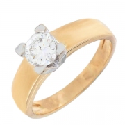Bague solitaire diamant 0,65 carat en or bicolore
