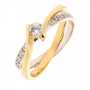 Bague solitaire diamants 0,25 carat en or bicolore