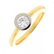 Bague solitaire diamant 0.38 carat en or bicolore