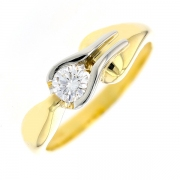 Solitaire diamant 0.30 carat en or bicolore