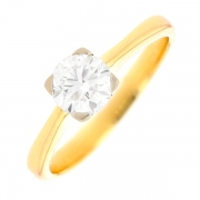 Solitaire diamant 0.65 carat en or bicolore