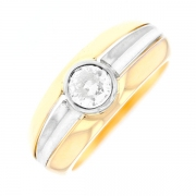 Solitaire diamant 0.55 carat en or bicolore