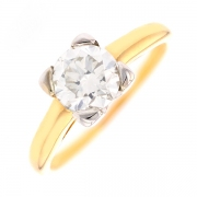 Solitaire diamant 1.25 carat en or bicolore