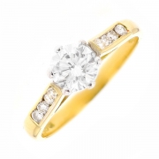 Solitaire diamants 0.86 carat en or bicolore