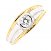 Solitaire diamant 0.35 carat en or bicolore