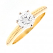 Solitaire diamant 0.90 carat en or bicolore