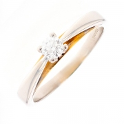 Solitaire diamant 0.25 carat en or bicolore