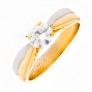 Solitaire diamant 0.50 carat en or bicolore
