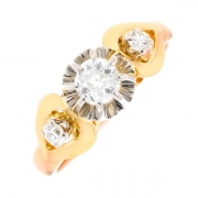 Solitaire diamants 0.45 carat en or bicolore