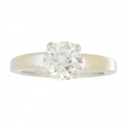 Solitaire diamant 1,40 carat en or blanc