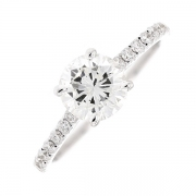 Solitaire diamants 1.45 carat en or blanc