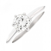 Bague solitaire diamant 0.95 carat en or blanc