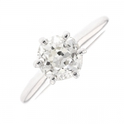 Solitaire diamant 1.71 carat en or blanc