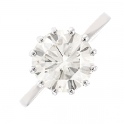 Bague solitaire diamant 3.27 carats en or blanc