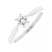Solitaire diamant 0.41 carat en or blanc
