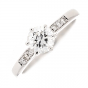 Solitaire diamants 0.87 carat en or blanc