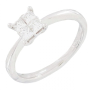 Solitaire diamants 0,34 carat en or blanc