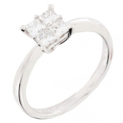 Solitaire diamants 0,52 carat en or blanc