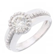 Bague solitaire diamant 1,13 carat en or blanc