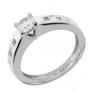Solitaire diamants 0,38 carat en or blanc signé Garel