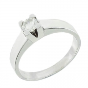 Solitaire diamant 0,30 carat en or blanc