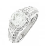 Bague solitaire diamants 2,72 carats en or blanc