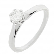 Solitaire diamant 0,35 carat en or blanc