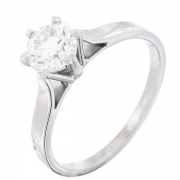 Bague solitaire diamant 0,65 carat en or blanc