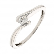 Bague solitaire diamant 0,14 carat en or blanc