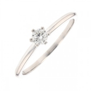 Bague solitaire diamant 0.18 carat en or blanc