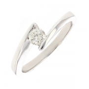 Bague solitaire diamant 0.20 carat en or blanc