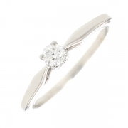 Bague solitaire diamant 0.17 carat en or blanc