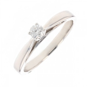 Bague solitaire diamant 0.15 carat en or blanc
