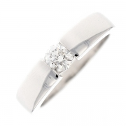Bague solitaire diamant 0.35 carat en or blanc