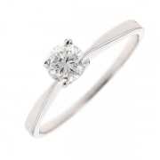Bague solitaire diamant 0.38 carat en or blanc