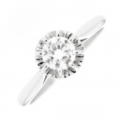 Solitaire diamant 0.53 carat en or blanc