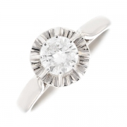Solitaire diamant 0.57 carat en or blanc