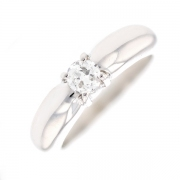 Solitaire diamant 0.30 carat en or blanc